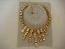 Kenneth Jay Lane 22K Gold plated Crystal Bib Statement Necklace Golden Shadow