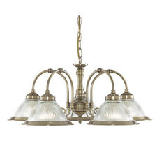 Searchlight 9345-5 American Diner Antique Brass 5 Light Clear Ribbed Glass