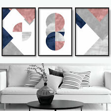 SET of 3 ABSTRACT Navy Pink Grey Textured Pattern Circles Wall Art Prints ONLY