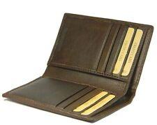 Real Leather Credit Card Holder Case Slim Brown Book Wallet Men Bifold Gift