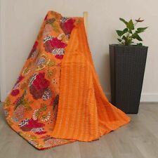 Indian Kantha Twin Quilt Orange Floral Print Reversible Bedspread Blanket Throw