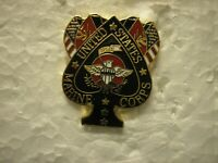 USMC HAT PIN - ACE OF SPADES WITH USMC AND US FLAGS AND EGA