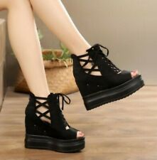 Korean Womens Wedge Heels Platform Sandals Peep Toe Lace Up Shoes Gladiator B