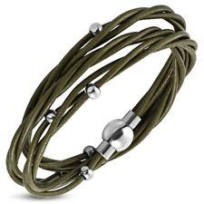 Lederkette mit Silber Perle Edelstahl Halskette olivgrün echt Leder Kette ME 255
