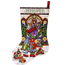 STAINED GLASS Angel Counted Cross Stitch STOCKING KIT ~ NEW