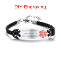 Life Saving Medical Alert ID Plate Men Bracelet Cuff Custom Name Free Engraving