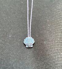 Touchstone Crystal Swarovski Blue Shell Necklace in box Scallop Pendant