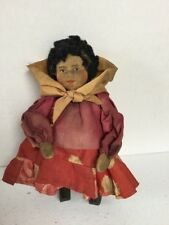 Vintage Russian Ukraine Stockinet Faced Doll Little Girl W Wooden Boots Cute!