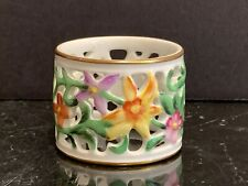 Herend Porcelain Floral Reticulated Napkin Ring
