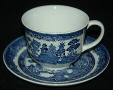 JOHNSON BROTHERS FINE CHINA CUP & SAUCER WILLOW BLUE PATTERN