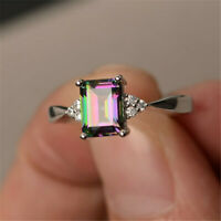 Women 925 Silver Gift Rainbow Fire Mystic Topaz Wedding Engagement Ring Sz6-10