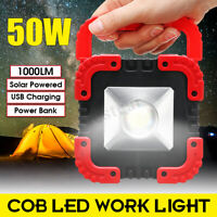 Portable USB Spotlight Solar LED COB Work Light Lamp Outdoor Camping 50W