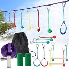 40ft Kids Hanging Sling Ring Swinging Obstacle Slackline Monkey Bars Kits Garden