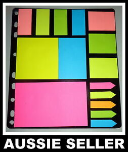 NEON STICK ON NOTES VALUE PACK | Assorted Prints Page Markers Memo POST-IT
