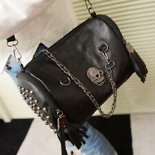 !1X All Matched Women Skull Rivet Tassels Shoulder Bag Handbag Crossbody Bla BB