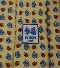 BATTISTONI ROMA BAT 1176 Tie 100% Silk Ladybug Pattern Yellow/Red Color L63 W3.1