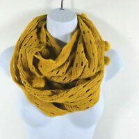 Charlie Paige Womens Yellow Gold Infinity Scarf Wrap Knit Pom Poms New AF55
