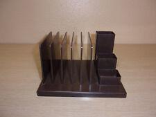 VINTAGE BROWN PLASTIC DESK ORGANIZER FOR MAIL, PENS, PENCILS, PAPER CLIPS,