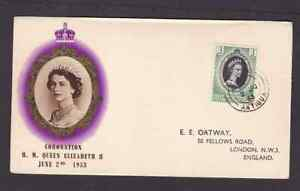 Leeward Islands 1953 FDC 1st day cover to England QE II coronation BPA cachet