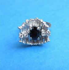 c1950 Modernist 14K Gold Sapphire and Diamond Ring White Gold Size 5.5