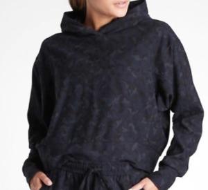 ATHLETA Navy Blue Camo Farrallon Cropped Camo Hoodie Sweatshirt Top Small