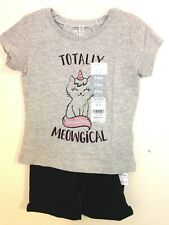 """Carter'S Sz 24 &Old Navy Sz18-24 """"Totally Meowgical"""" Tee & Cuffed Black Shorts"""