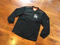 MAJESTIC Mens Cool Base Miami Marlins MLB Pullover Windbreaker Jacket Size Small