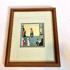 """Norman Rockwell ART Veterinarian Framed Print """"WAITING FOR THE VET"""" animal dog"""
