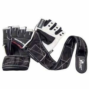 OLIMP Training Gym Weight Lifting White Leather Gloves Hardcore COMPETITION