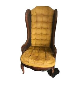Vintage Mid Century Modern Lattes Wingback CANE Yellow Arm Chair Seat Height 18