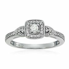 1/4 ct Diamond Cushion Engagement Ring in Sterling Silver