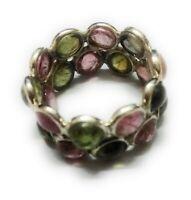 Style Multi Tourmaline Gemstone Handmade  925 Sterling Silver Ring Size 6