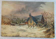 fine old oil on board winter  landscape painting signed W S