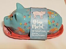 L@@K*NEW*GIBSON URBAN MARKET*LIFE ON THE FARM BLUE FLORAL PIG BUTTER DISH W/ LID