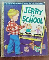 """Vintage Little Golden Book Jerry At School 1950 """"A"""" 1st edition No Puzzle Rfw"""