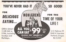 PORTLAND OR~NOHLGRENS ALL YOU CAN EAT FOR 99¢~SMORGASTYLE ADVERTISING POSTCARD