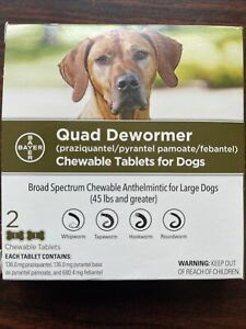 Bayer Quad Dewormer for Large Dogs 45 LBS & Greater Broad Spectrum-Chewable-New