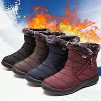 Women's Zipper Fur-lined Ankle Boots Warm Winter Snow Waterproof Anti-skid Shoes