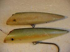 2 Diff. Vintage Commercial Olsen 6 3/4� Wood Salmon Plugs, 1 Blue Herring Scale