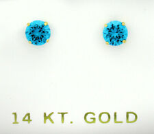 BLUE TOPAZ  1.14 Cts STUD EARRINGS 14k YELLOW GOLD ** New With Tag **