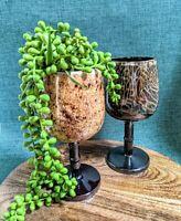Vintage Set (2) Pottery Terracotta Glazed Drink Goblets Rustic Boho Plant Holder