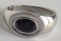 bracelet rétro rigide déco central cabochon facette noir couleur argent A20