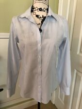 Brooks Brothers 346 Size 6 Blue White Pinstripe 100% Cotton LS Shirt Blouse