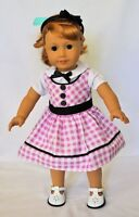 "Doll Clothes 18"" Doll Dress Pink White Fits American Girl Doll Mary Ellen 1954"