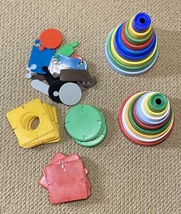 MIXED LOT VINTAGE 1960's 70'sPlastic Stacking Hoops,MOTHERCARE People,Slot Tiles