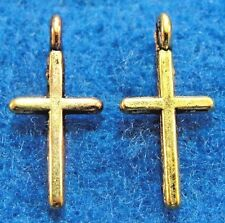 120Pcs. WHOLESALE Tibetan Antique Gold Tiny CROSS Earring Drops Charms Q0619