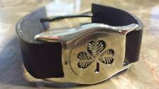 Irish Wide Pewter Black Adustable Shamrock Bracelet