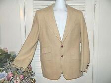 Suit 38R Vintage 1960 1970s Tan Beige Tweed Wool Plaid Malibu Clothier VGC