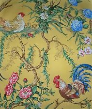 SCALAMANDRE CHANTICLEER ROOSTER FABRIC 10 YARDS MUSTARD BLUE REDS MULTI