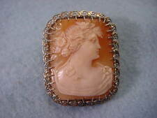 Vintage 14KT White Gold Lacy Filligree Cameo Pin